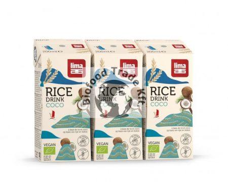 LIMA Bio rizsital kókuszos 3x200ml szívószállal